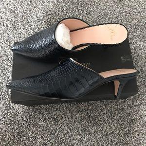 J.Crew Croc-Embossed Leather Pointy-Toe Mule Heel